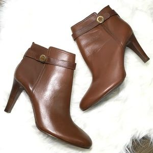 NEW Tory Burch Brown Brita Almond Leather  Booties